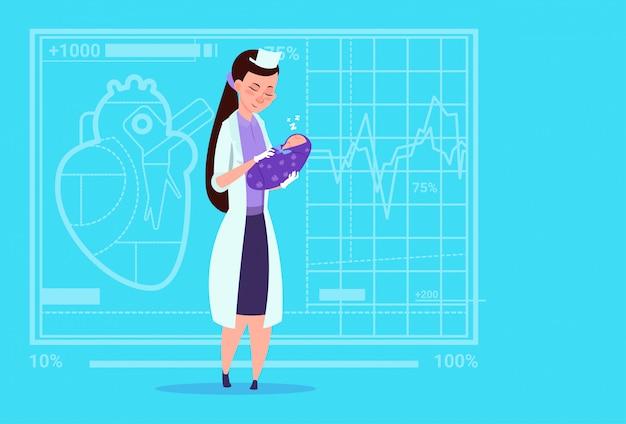 Fêmea, doutor, mantenha, recém-nascido bebê menino, maternidade, clínicas, trabalhador, hospitalar