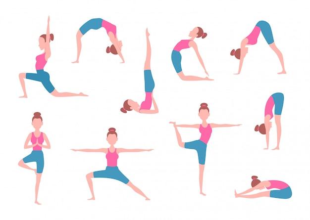 Fêmea fazendo exercícios de ioga em poses diferentes