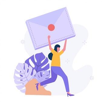 Fêmea feliz recebeu uma carta importante. ilustração moderna