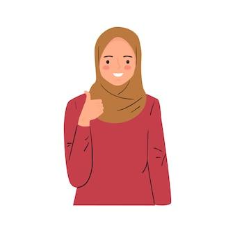 Fêmea jovem sorridente, fazendo o polegar para cima o sinal. mostrando apoio, eu gosto disso, bom gesto de trabalho.