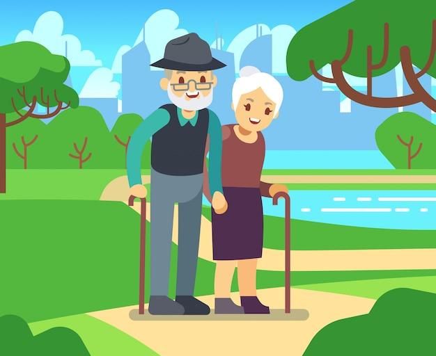 Fêmea mais idosa dos desenhos animados felizes no amor ao ar livre. par velho, em, parque, vetorial, ilustração