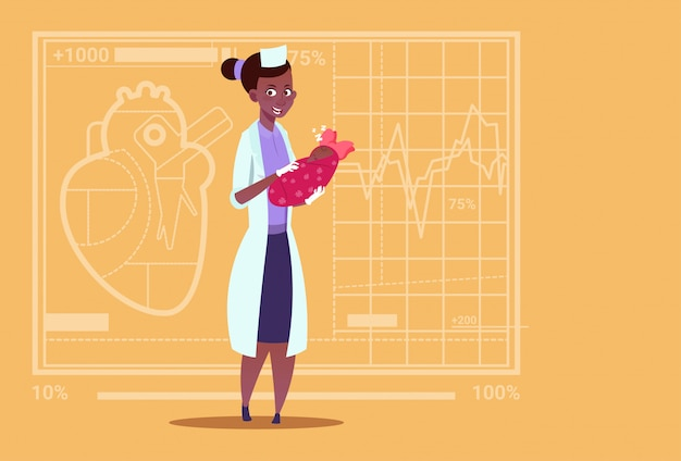 Femininas, americano africano, doutor, ter, recém-nascido bebê menina, maternidade, clínicas, maternidade, trabalhador, hospitalar