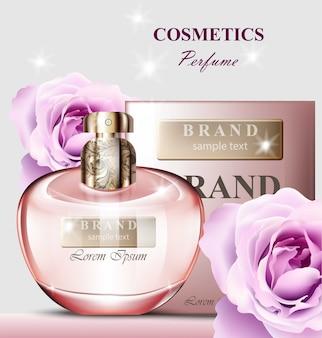 Feminino fragrância de rosa de garrafa de perfume. modelos de empacotamento de produtos do vetor realista maquete