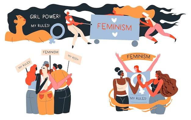 Feminismo e liberdade de mulheres protestando com slogan