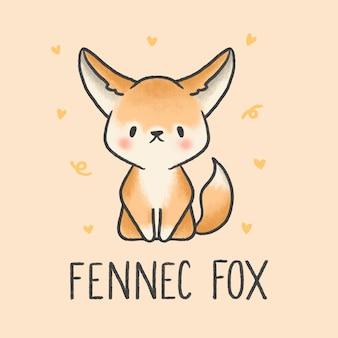 Fennec fox bonito dos desenhos animados mão desenhada estilo