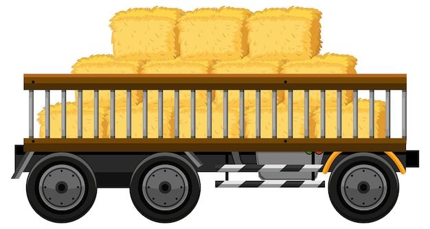Feno em um carrinho isolado no fundo branco