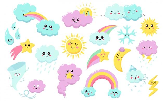 Fenômenos climáticos de mão desenhada. sol bonito, nuvens arco-íris, personagens do tempo, estrela do bebê, floco de neve e vento alado conjunto de símbolos. sol e nuvens, arco-íris e chuva doodle ilustração feliz