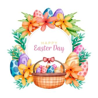 Feriado da páscoa e cesta cheia de ovos