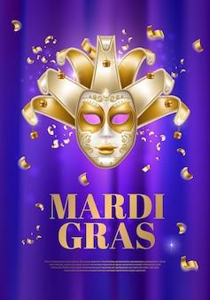 Feriado de carnaval, máscara de celebração de terça-feira gorda
