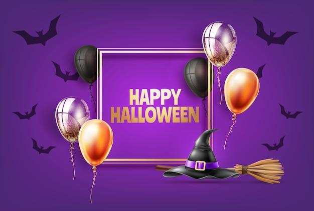 Feriado de halloween com chapéu pontudo de bruxa realista