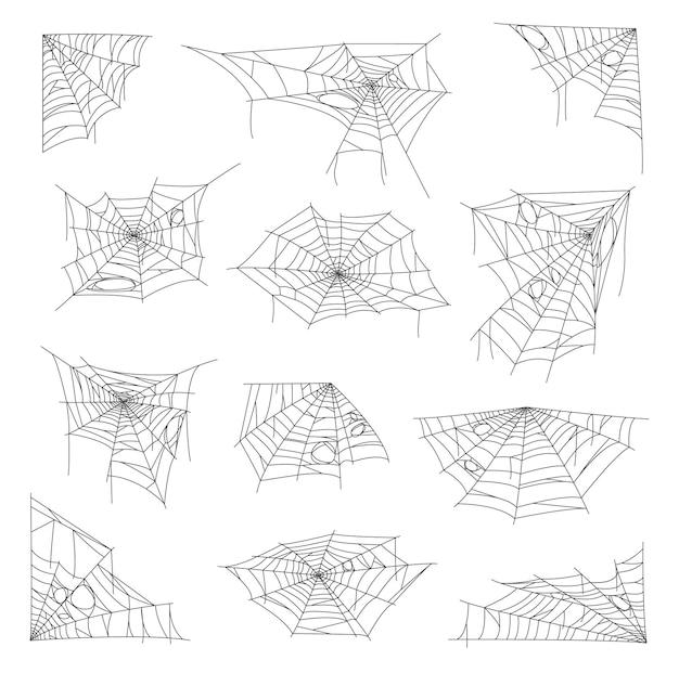 Feriado de halloween com teia de aranha e teia de aranha pegajosa