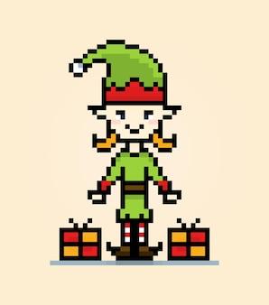 Feriado de natal do personagem pixel elfo