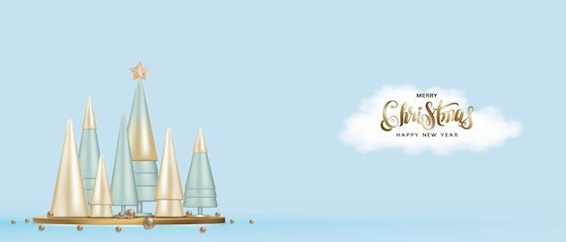 Feriado de natal e ano novo. projeto 3d metálico árvore e bolas cônicas douradas de natal. banner horizontal
