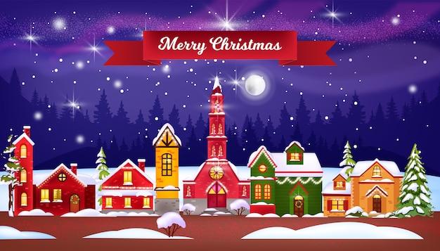 Feriado de natal, inverno, ilustração de casas com aldeia de neve, igreja, pinheiros, céu noturno