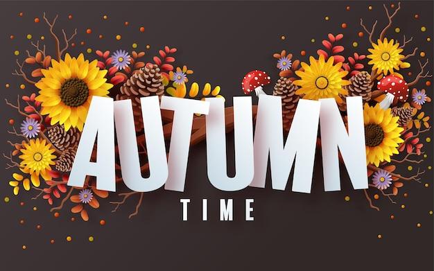 Feriado de outono fundo sazonal com flores e folhas de outono coloridas