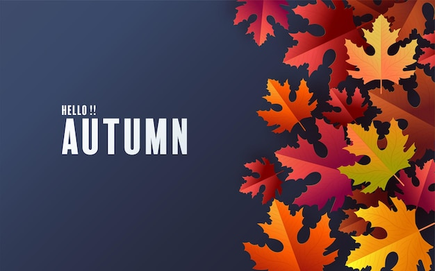 Feriado de outono fundo sazonal com folhas de outono coloridas em fundo de cor