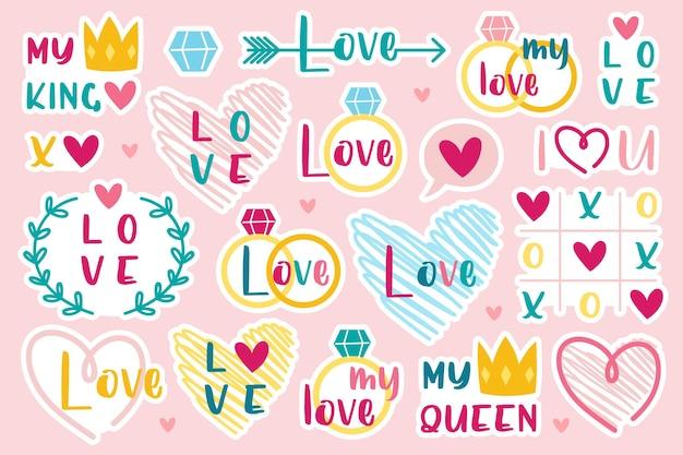 Feriado de são valentim. coração, anel, coroa. conjunto de adesivos.