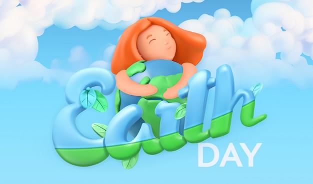 Feriado do dia da terra. fundo de natureza e ecologia. design de cartaz em 3d