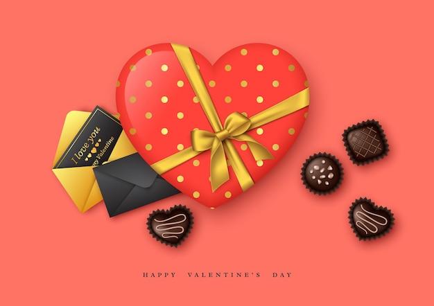 Feriado do dia dos namorados. coração 3d com arco dourado e doces de chocolate, cartões postais de saudação.