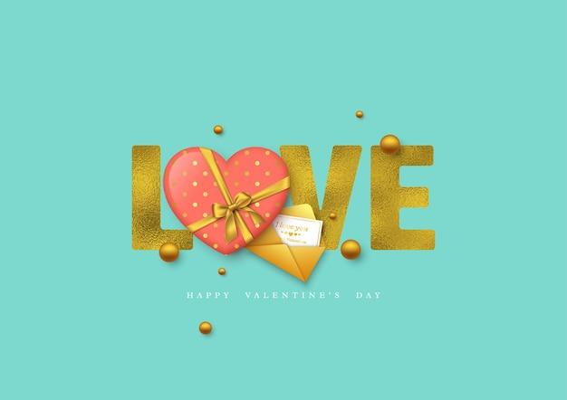 Feriado do dia dos namorados. palavra de brilho amor com efeito folha, coração 3d e cartão com envelope.