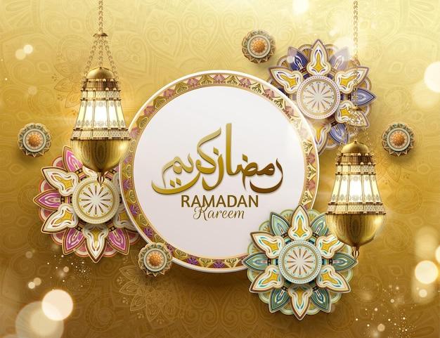 Feriado generoso escrito em caligrafia árabe ramadan kareem com flores de arabescos
