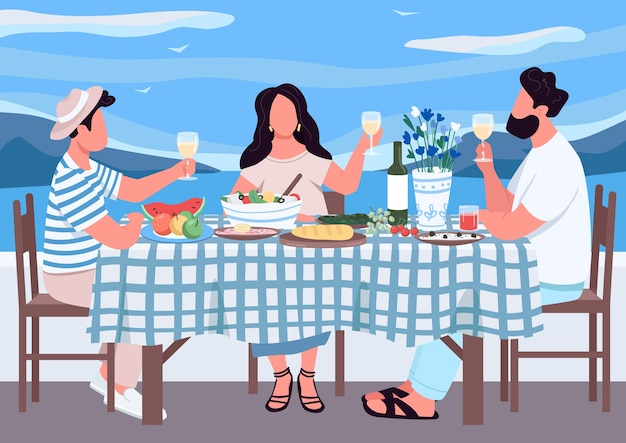 Feriado grego para amigos ilustração colorida plana