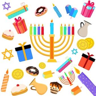 Feriado judaico hanukkah com menorah (candelabro tradicional), donut e dreidel de madeira (spinning top) e outros elementos.