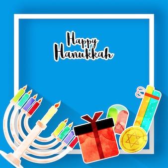 Feriado judaico hanukkah com menorah (candelabros tradicionais), donuts e dreidel de madeira (spinning top), moedas e caixas de presente.