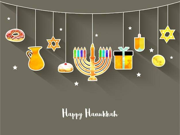 Feriado judaico hanukkah com menorah (candelabros tradicionais), donuts e dreidel de madeira (spinning top), moedas e estrelas.