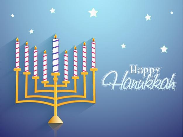 Feriado judaico hanukkah com menorah em azul.