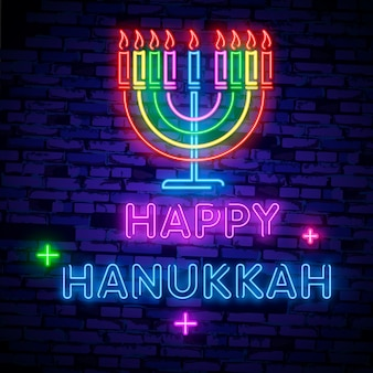 Feriado judaico hanukkah é um sinal de néon