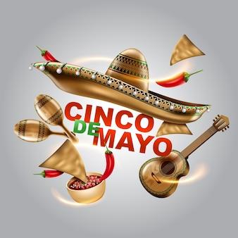 Feriado mexicano cinco de mayo sombrero chapéu maracas e tacos e ilustração vetorial de comida festiva
