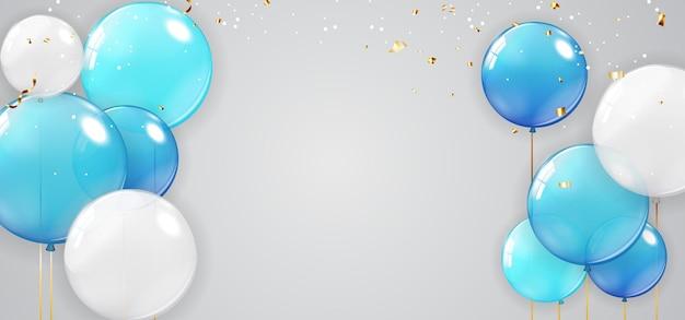 Férias, banner de festa com fundo de balões.