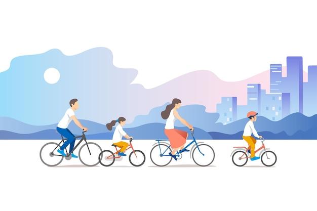 Férias com a família ativa pai, mãe, filho e filha estão andando de bicicleta