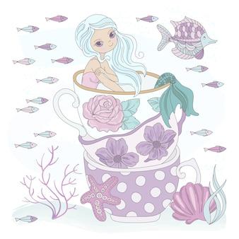 Férias da princesa do oceano da sereia do copo