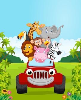 Férias de animais de coleção dos desenhos animados com carro vermelho