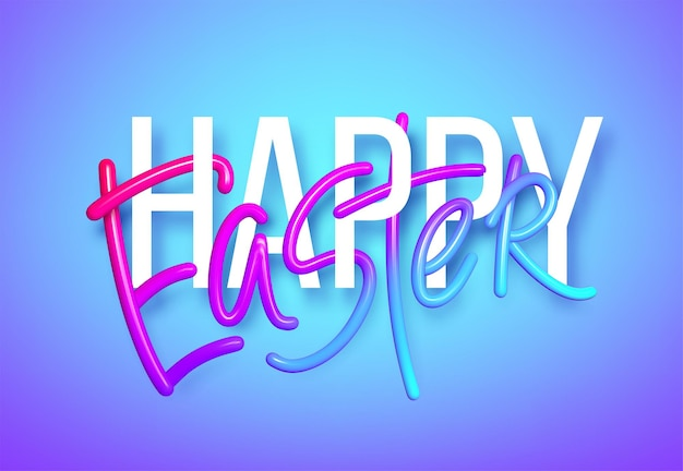 Férias de arco-íris realista 3d fundo de rotulação de páscoa feliz. ilustração vetorial eps10