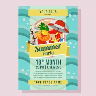Férias de cartaz de festa de verão com ilustração em vetor estilo marinho liso onda