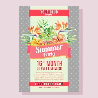 Férias de cartaz de festa de verão com ilustração em vetor tropical aquarela folhagem