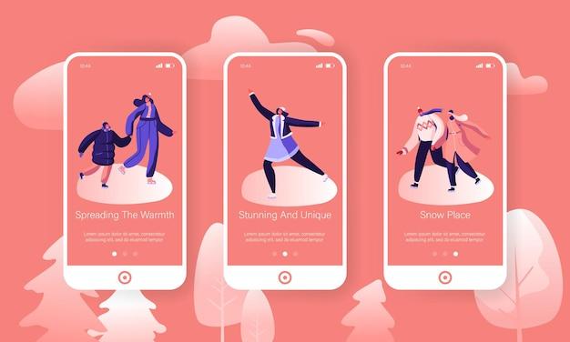 Férias de inverno ao ar livre família tempo livre conjunto de tela do aplicativo móvel