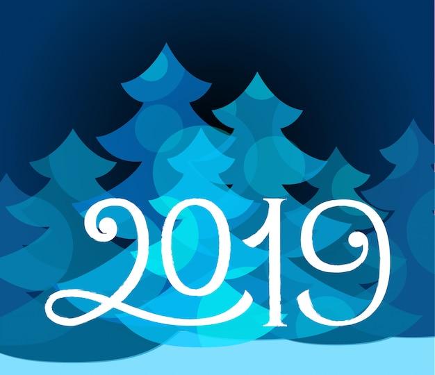 Férias de inverno de ano novo de 2019 vector cartão
