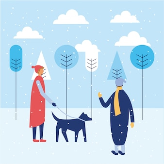 Férias de inverno feliz pessoas