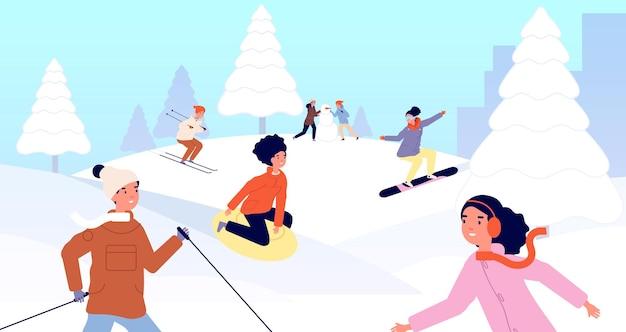 Férias de inverno para crianças. trenó de crianças, atividade de férias de natal de neve feliz. menina menino esqui snowboard com ilustração vetorial de amigos. férias de inverno na neve, atividades com pessoas fofas e alegres