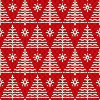 Férias de inverno sem costura tricô padrão com uma árvore de natal. suéter de tricô