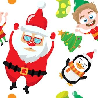 Férias de natal bonito dos desenhos animados padrão sem emenda
