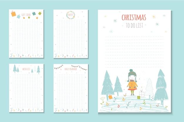 Férias de natal para fazer listas, notas engraçadas com elementos de inverno