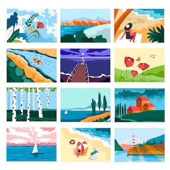 Férias de paisagens de verão e praias de areia quente