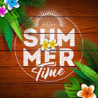 Férias de paraíso para o verão com flores e plantas tropicais em fundo de madeira vintage