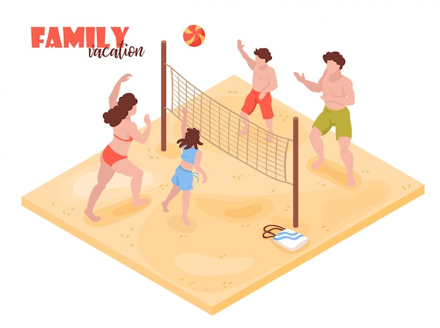 Férias de praia tropical isométrica casa com personagens humanos dos membros da família jogando vôlei com ilustração vetorial de texto