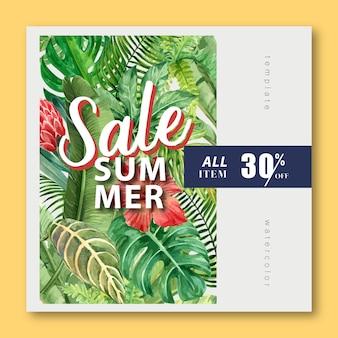 Férias de publicidade de mídia social de verão no desconto de venda.